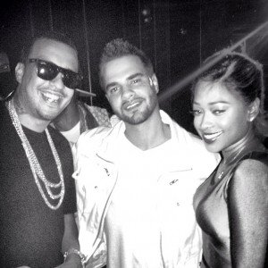French Montana, Vinny D Engineer, & Trina at the Hit Factor in Miami Florida.