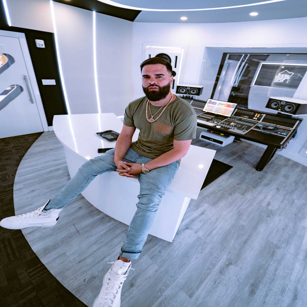 Vinny DeLeon in the House of Hits studio Suite A